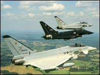 Group of Eurofighter planes