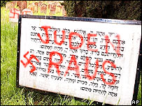 Desecrated signs at a French Jewish cemetery in April 2003
