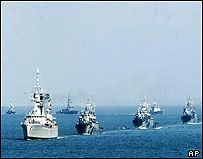 Indonesian, Singaporean and Malaysian navy Vessels
