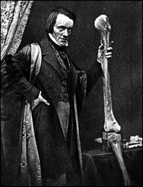 Sir Richard Owen holding leg bones of a Moa,  The Natural History Museum, London