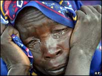 Woman crying in refugee in Darfur, Sudan