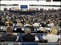 A view of the European parliament in its opening session