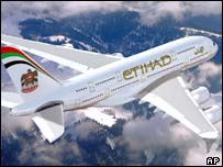 A mockup of an A380 in Etihad livery