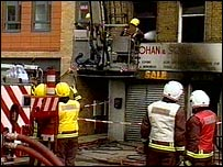 Fire crews at the scene of the fire