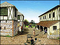 Reconstruction of buildings in part of Calleva Atrebatum