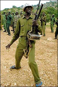SPLA soldiers singing a song in praise of Kalashnikovs