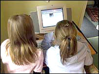 Girls using the internet