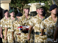 British soldiers changing guard outside embassy in Baghdad