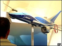 A model of Boeing's new aircraft the 7E7 Dreamliner