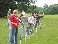 Archery practice for campers