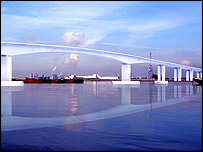 Artist's impression of the Thames Gateway Bridge