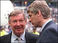 Sir Alex Ferguson and Arsene Wenger's sides will meet in the Community Shield