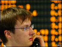 Russian share trader in Moscow