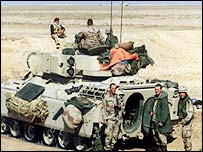 A British tank and crew in the desert