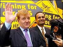 Charles Kennedy with victorious by-election candidate Parmjit Singh Gill