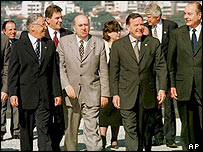 EU and Mercosur leaders at a summit in Rio de Janeiro in June 1999
