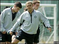 David Fernandez trains with his Celtic team-mates