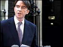 Peter Mandelson outside 10 Downing Street