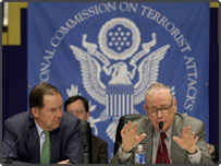 Chairman Thomas H. Kean (L) and Lee H. Hamilton of the National Commission on Terrorist Attacks