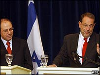 Israeli Foreign Minister Silvan Shalom and EU Foreign policy envoy Javier Solana (R)
