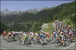 The first climb of the stage