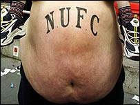 Newcastle fan with beer belly