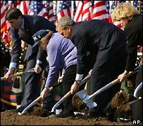 President Bush helps break ground at a new 9/11 memorial