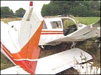 The plane crash wreckage