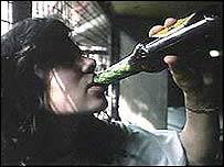 Girl drinking, generic