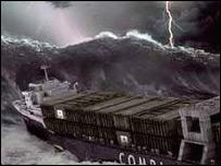 Impression of a freak wave, BBC