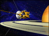 Artist's impression of Cassini in orbit around Saturn, Nasa