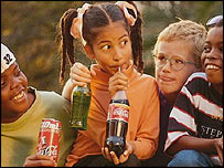 Children drinking Coca Cola