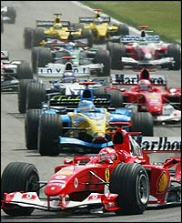 Michael Schumacher leads the pack