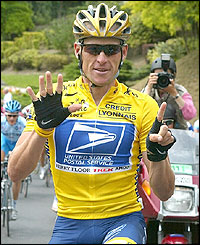 Lance Armstrong starts the 20th and final stage of Tour de France
