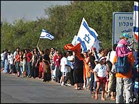 Protesters holding hands in the chain from Gaza to Jerusalem
