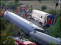 Derailed train near Mekece, north-west Turkey, 22 July 2004