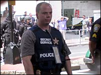 Secret service agent watches protests