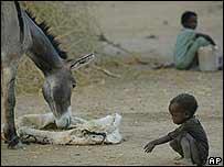 Un ni�o en un campamento en la frontera entre S�d�n y Chad