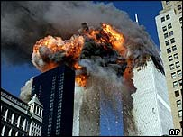 World Trade Center tower burns on 11 Sept 2001