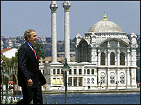 President Bush in Turkey with Ortakoy mosque in the background