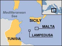 Map showing the location of Lampedusa