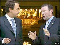 Spanish Prime Minister Jose Luis Rodriguez Zapatero (left) and Basque regional president Juan Jose Ibarretxe