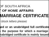 Application form for a marriage certificate