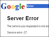 Google search engine error message