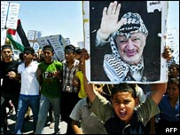 A boy holds up a poster of Palestinian leader Yasser Arafat during a rally