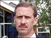 Head teacher Gary Loveridge outside Birkbeck Secondary School