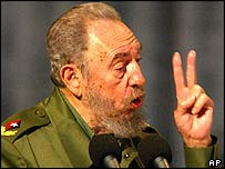 Cuban President Fidel Castro speaks in Santa Clara
