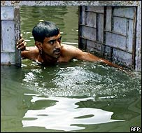 Bangladeshi flood victim in Dhaka