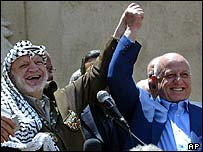Yasser Arafat and Ahmed Qurei