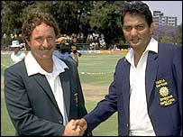 Zimbabwe's David Houghton and Mohammad Azharuddin
